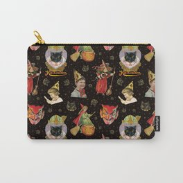 Vintage Halloween Party in Black Cat + Gold Celestial Carry-All Pouch
