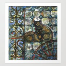 Cats in the patio. Art Print