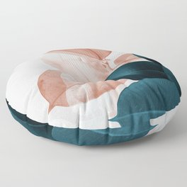 Blush & Blue Leaves Floor Pillow