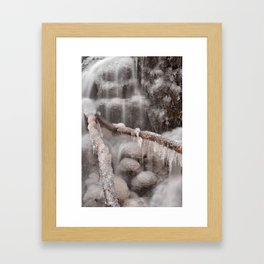 Frozen Winter Waterfall Framed Art Print