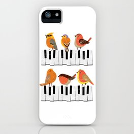 Birds On A Piano Keyboard iPhone Case