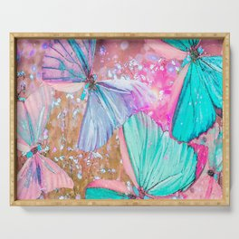 Turquoise butterflies on a pink background - lovely summer mood Serving Tray