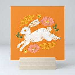 Jumping Rabbit and Flowers Mini Art Print