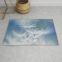 dandelion white blue Rug