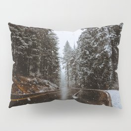Snowing Forest Road Pillow Sham