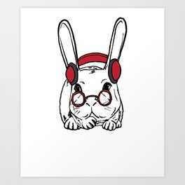 Rabbit Clipart Rabbit Line Art Bunny Wearing Red Headphone and Glasses Art Print