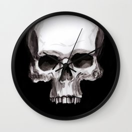 Skull on Black Wall Clock