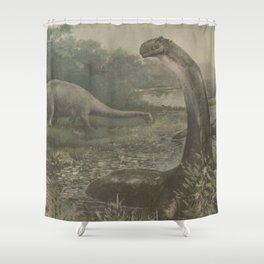 Vintage Illustration of Brachiosaurus Dinosaurs Shower Curtain
