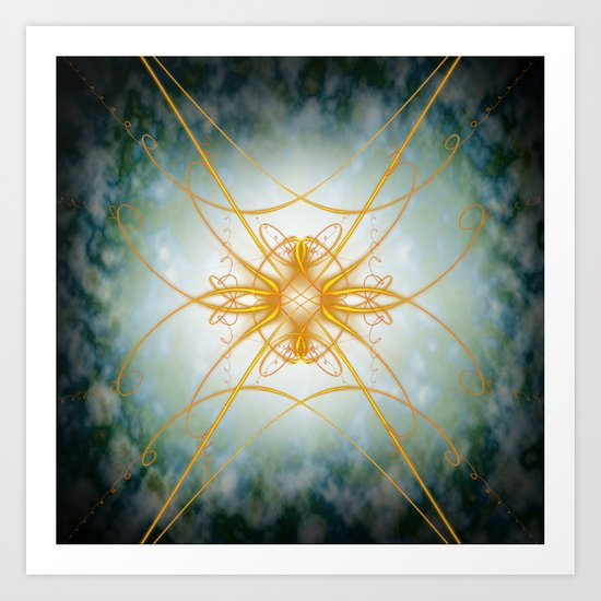 Gold filligree in space Art Print