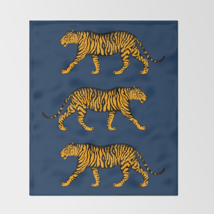 Tigers (Navy Blue and Marigold) Throw Blanket