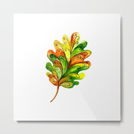 Decorative leaf painted in watercolor Metal Print