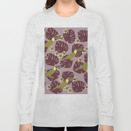 Colorful Monstera, Frangipani and Toucan Pattern QR Long Sleeve T-shirt
