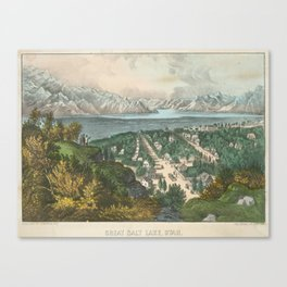 Vintage Pictorial Map of Salt Lake City UT (1870) Canvas Print