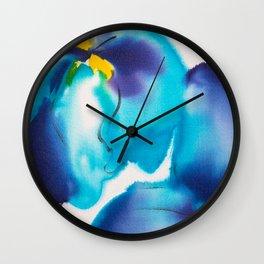 Blue Iris Chiffon in White & Blue Wall Clock