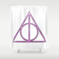 deathly hallows Shower Curtains featuring Deathly Hallows lilac by Eva van Gorp