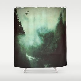 Morning dust on Mountains - Forest Wood Tree Shower Curtain