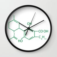 cannabis Wall Clocks featuring Cannabis Chemistry: CBD by WeedPornDaily