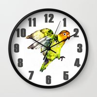 parrot Wall Clocks featuring Parrot by cmphotography