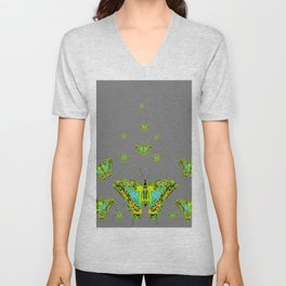 BLUE-GREEN-YELLOW PATTERNED MOTHS ON GREY Unisex V-Neck