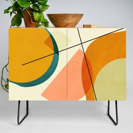 mid century geometric shapes painted abstract III Credenza