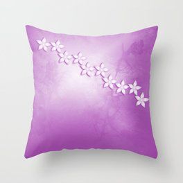 Abstract flowers and texture in pink Throw Pillow