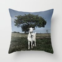goat Throw Pillows featuring Goat by Ana Francisconi