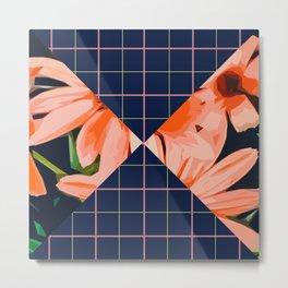 Pink Flowers & Tattersall  Metal Print