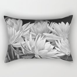 Water Lily in Black and White Rectangular Pillow