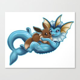 Vaporeon and Eevee Pup Canvas Print