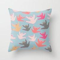 sloths Throw Pillows featuring Cute sloths pattern by Darish