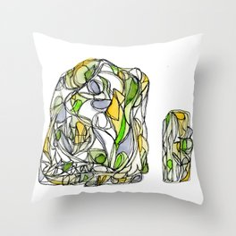 Freehand Abstract Crystal Structure Illustration Throw Pillow