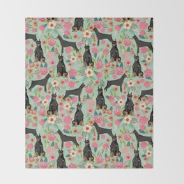 Doberman Pinscher florals must have dog breed gifts for dog person with doberman Throw Blanket