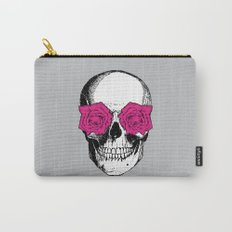 Skull and Roses | Grey and Pink Carry-All Pouch