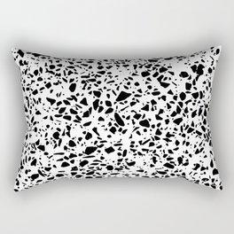 Black and White Dalmatian Pattern Dots Terrazzo Print Rectangular Pillow