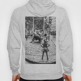 Fearless Girl & Charging Bull in the rain Hoody