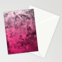 Liquid Space Nebula : Gray to Pink Ombre Gradient Stationery Cards