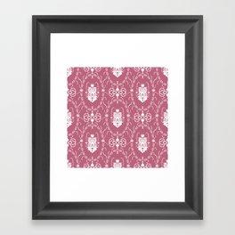 Dark pink damask pattern Framed Art Print