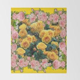 PINK & YELLOW SPRING ROSES GARDEN VIGNETTE Throw Blanket