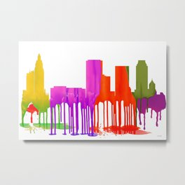Tulsa, Oklahoma Skyline - Puddles Metal Print