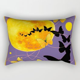 Puce Color Butterfly Full Moon Art Abstract Rectangular Pillow