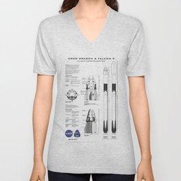 NASA SpaceX Crew Dragon Spacecraft & Falcon 9 Rocket Blueprint in High Resolution (white) Unisex V-Neck