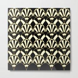 Art Deco Fans 1.2 Black BG Gold & Cream Decorative Fan Design Metal Print
