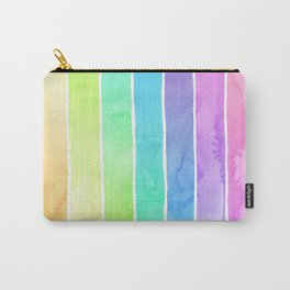 Watercolor Rainbow Stripes in Ombre Summer Pastels Carry-All Pouch