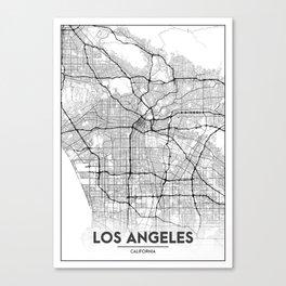 Minimal City Maps - Map Of Los Angeles, California, United States Canvas Print
