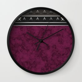 Marble . Combined abstract pattern. Burgundy marble . Wall Clock