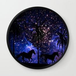 Galloping horses under starry sky Wall Clock