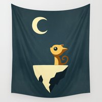 calm Wall Tapestries featuring Moon Cat by Freeminds