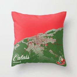 Calais - France Christmas Color City Map Throw Pillow