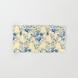 Chinoiserie Flowers Blue on Lemon Honey Creme Hand & Bath Towel