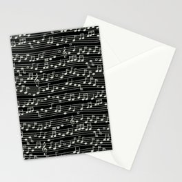 The Mary Collection - musical notes too (white on black) Stationery Cards